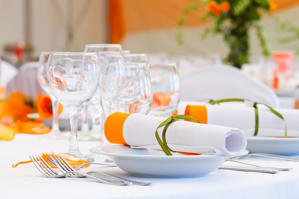 Orange Themed Linen At Wedding