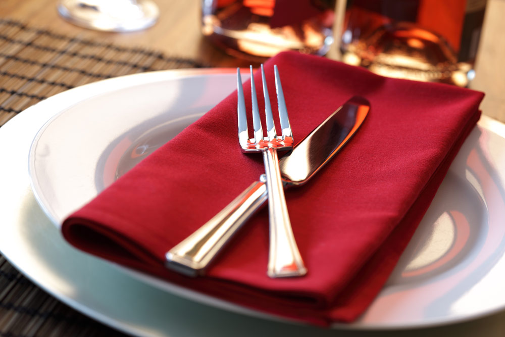 Red Napkin At A Table Setting
