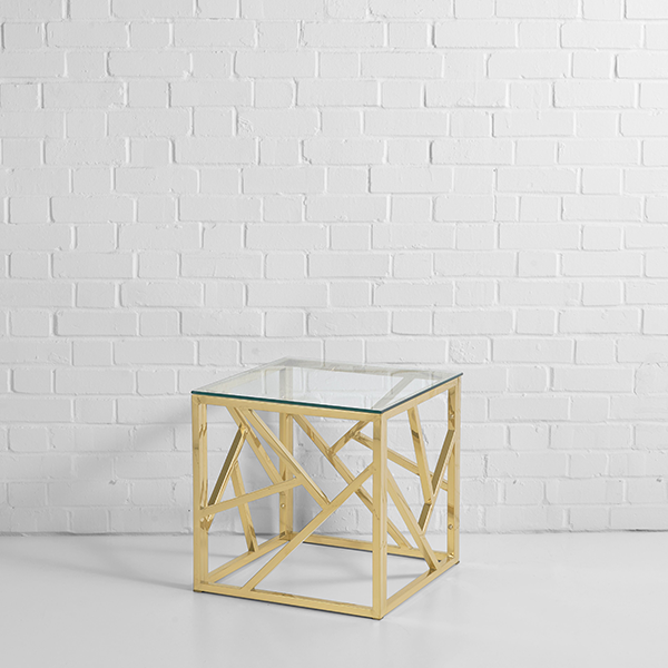 Square Gold Coffee Table Hire