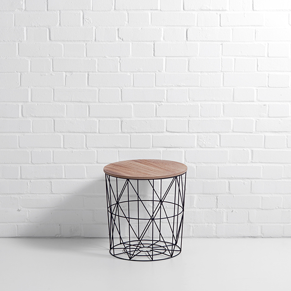 Round cage side table hire